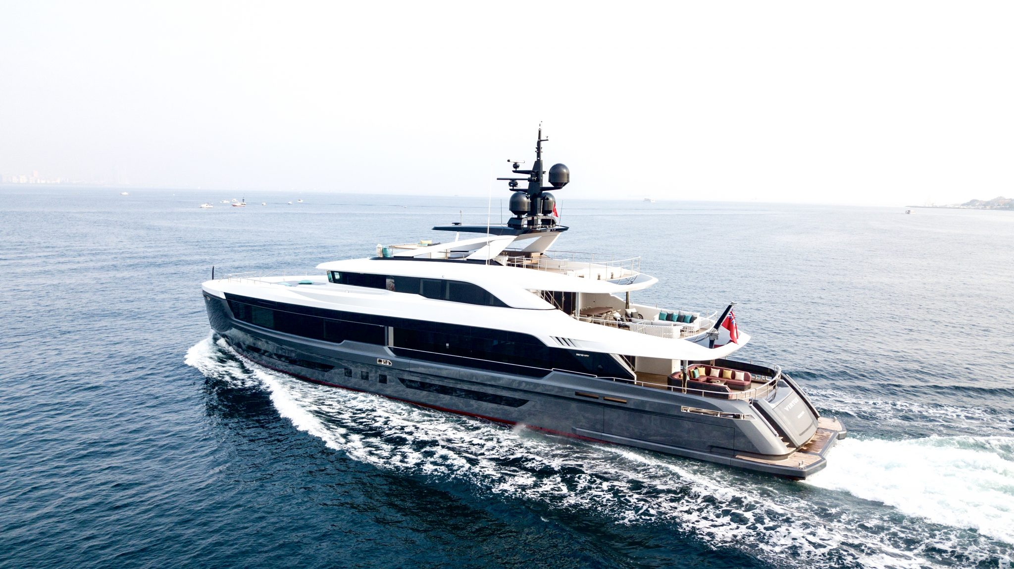 Virtus 44m superyacht drone shooting aft to bow
