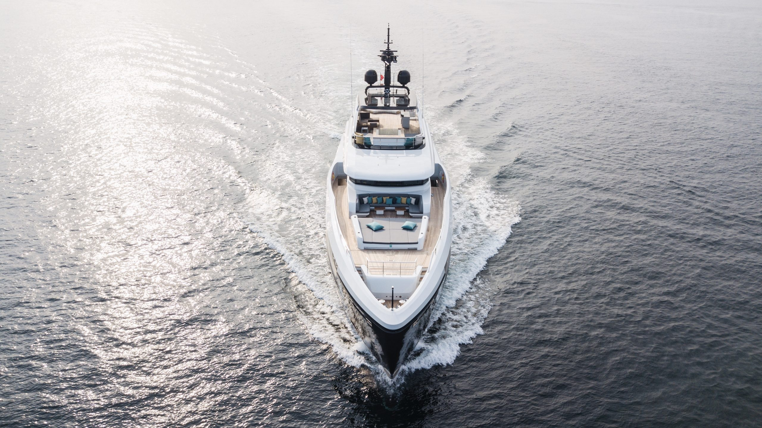 Symmetrical drone photo of bow, Virtus 44 meter superyacht designed by VYD Studio
