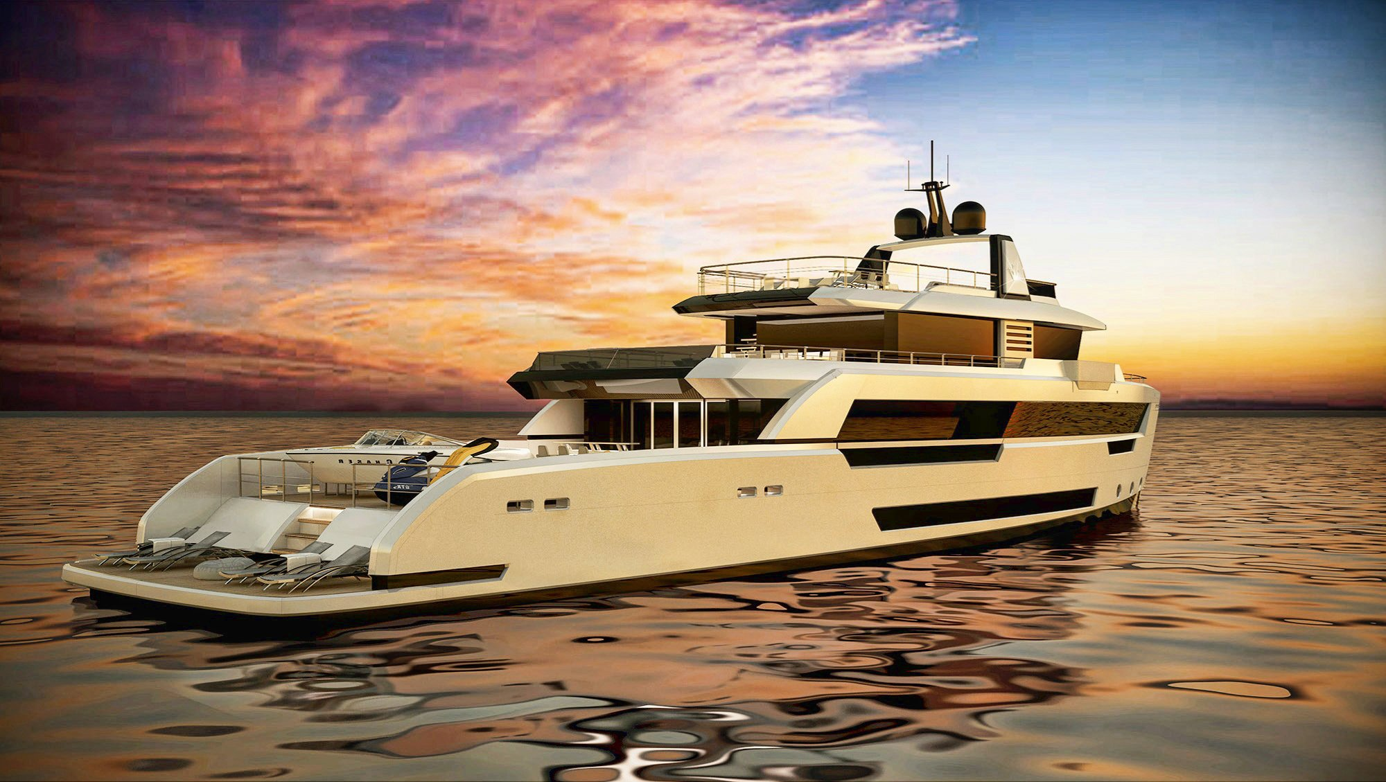 Ducale 118 Explorer Yacht Beach Club Render