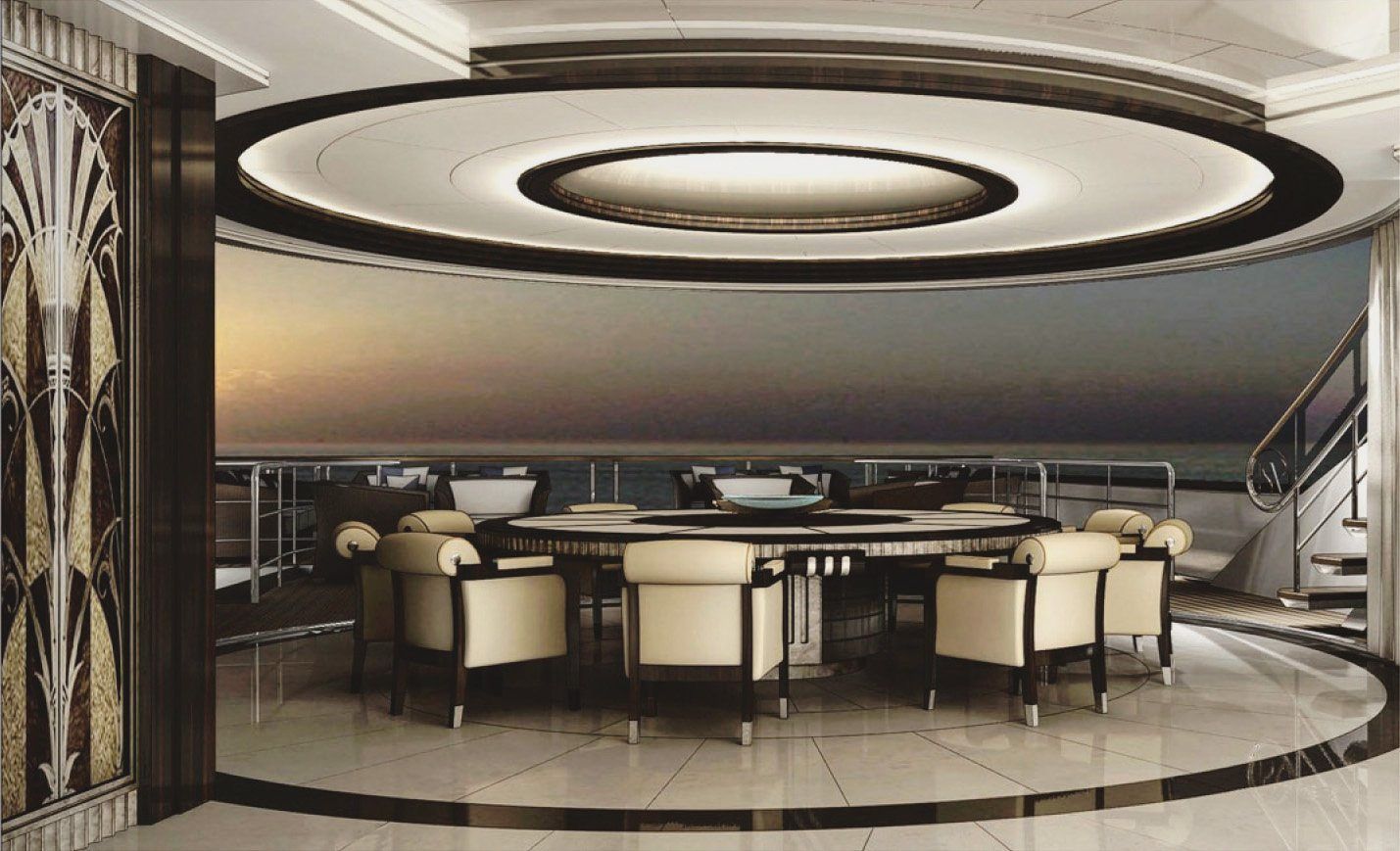ISA Yachts65 Interior Design Dining Area