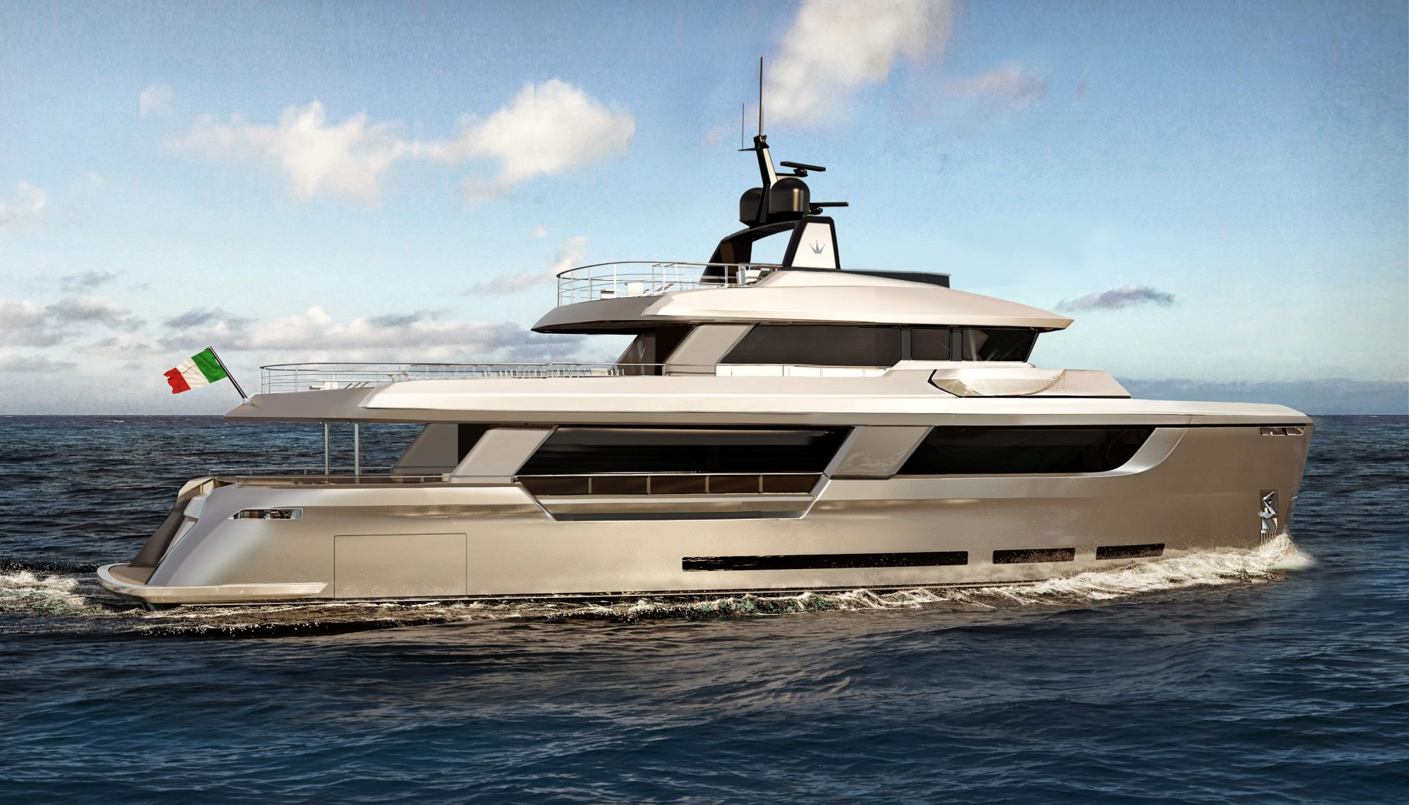 Ocean King classic Explorer 108 R l Exterior Design Yacht Aft and Side Render