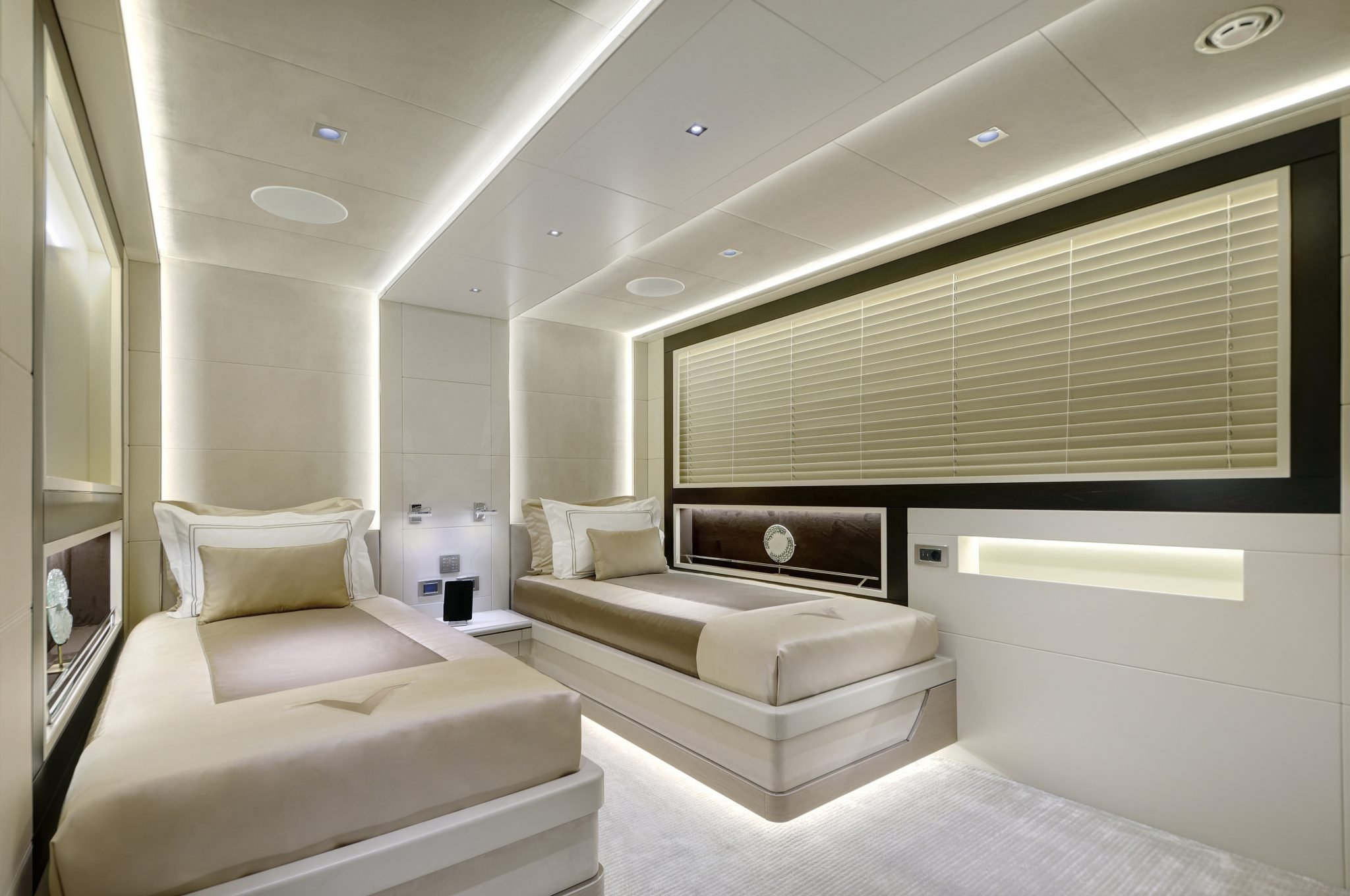 44m Virtus Yacht Twin Cabin with soft and charming interior