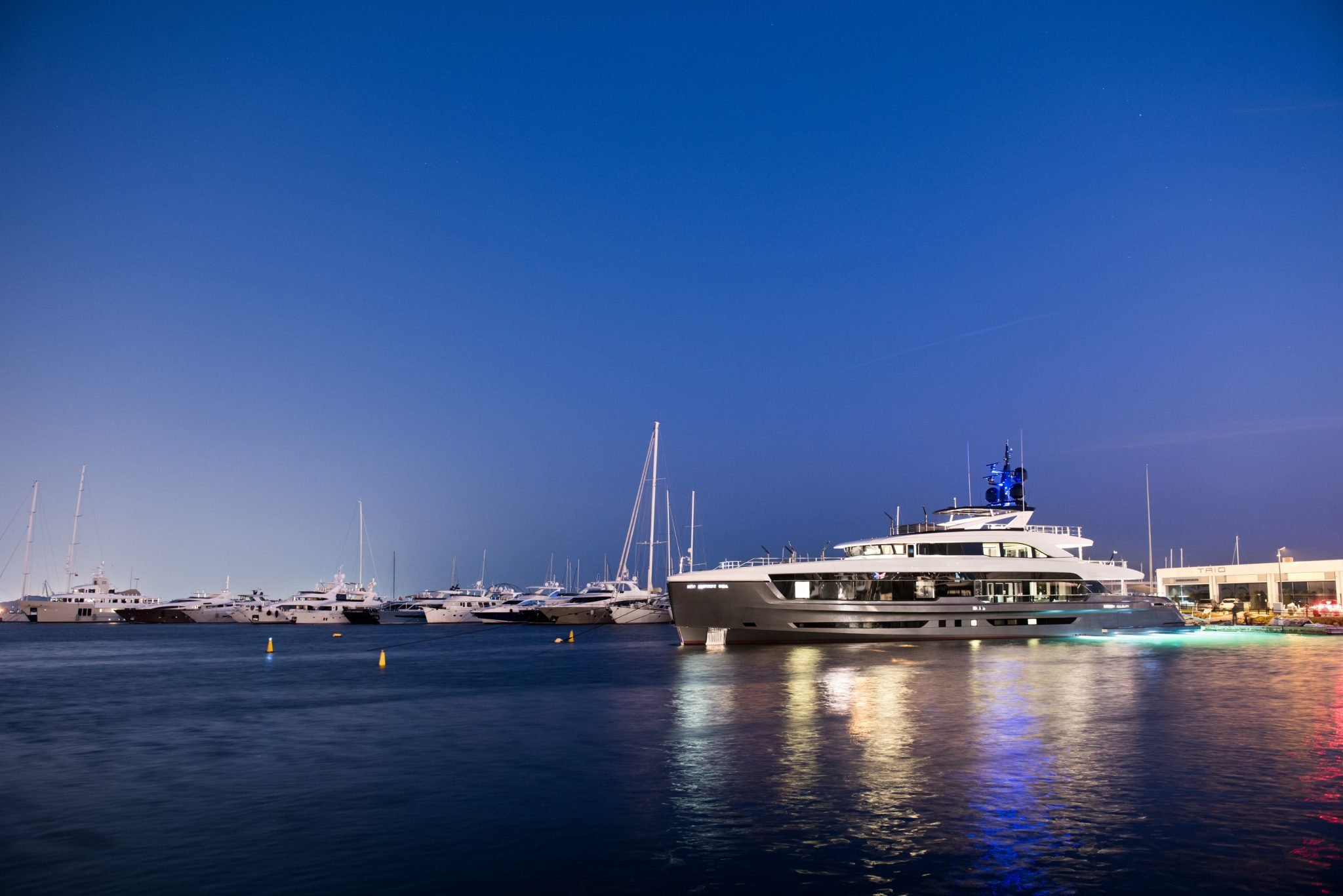 Virtus 44m superyacht at night