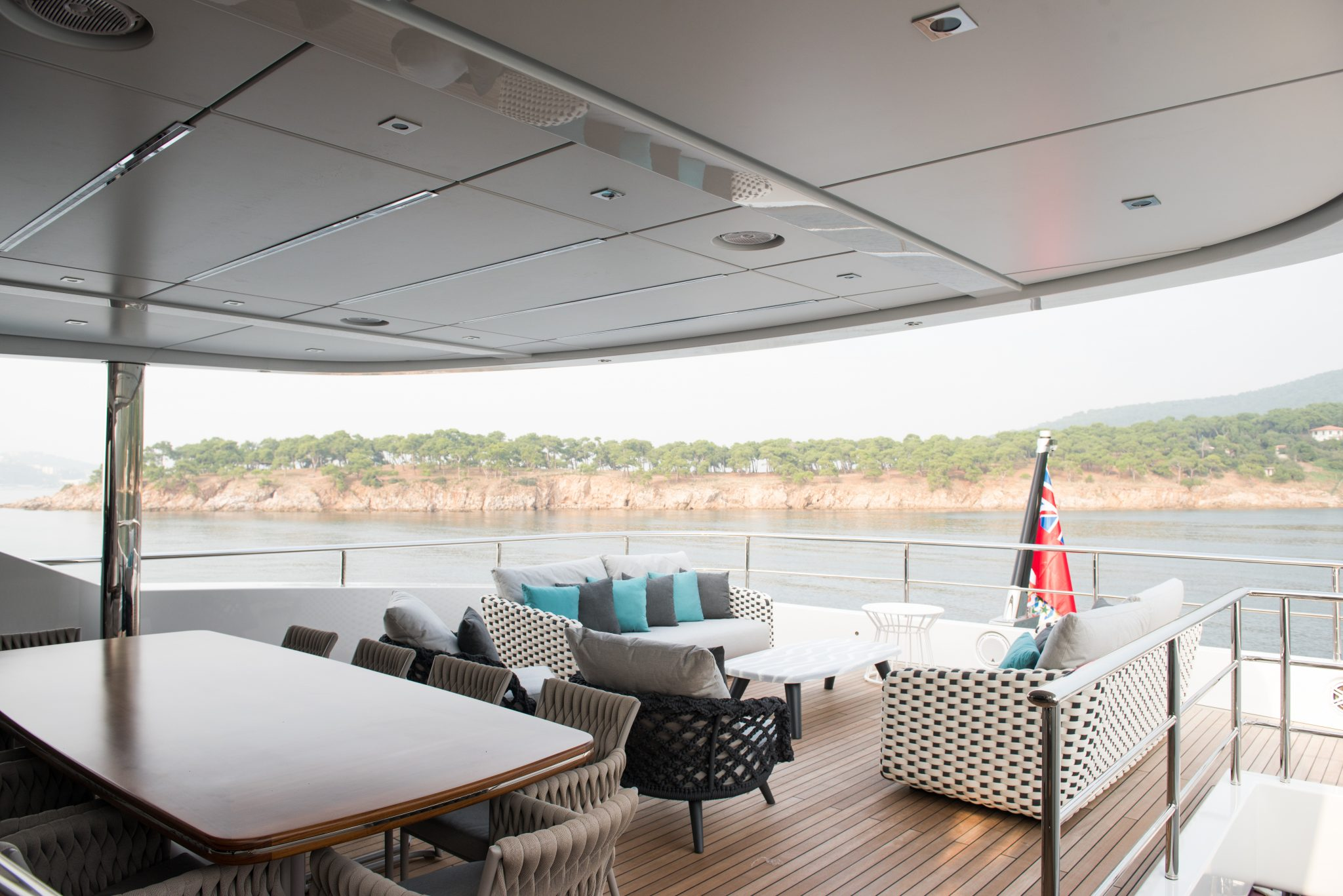 44m Virtus Yacht Aft Luxury Seating Area