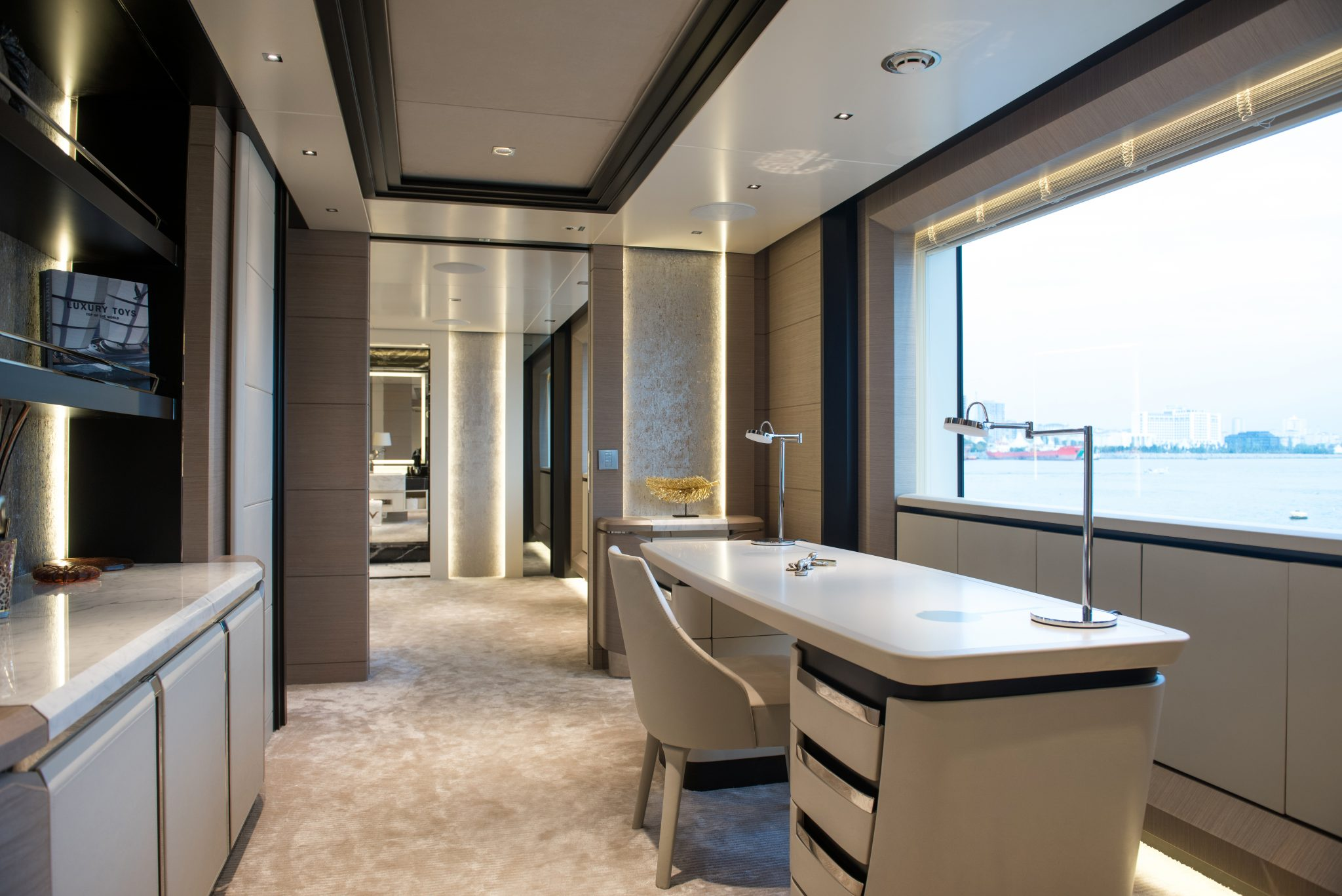 44m Virtus Yacht Owner's Cabin Entrance - Lounge