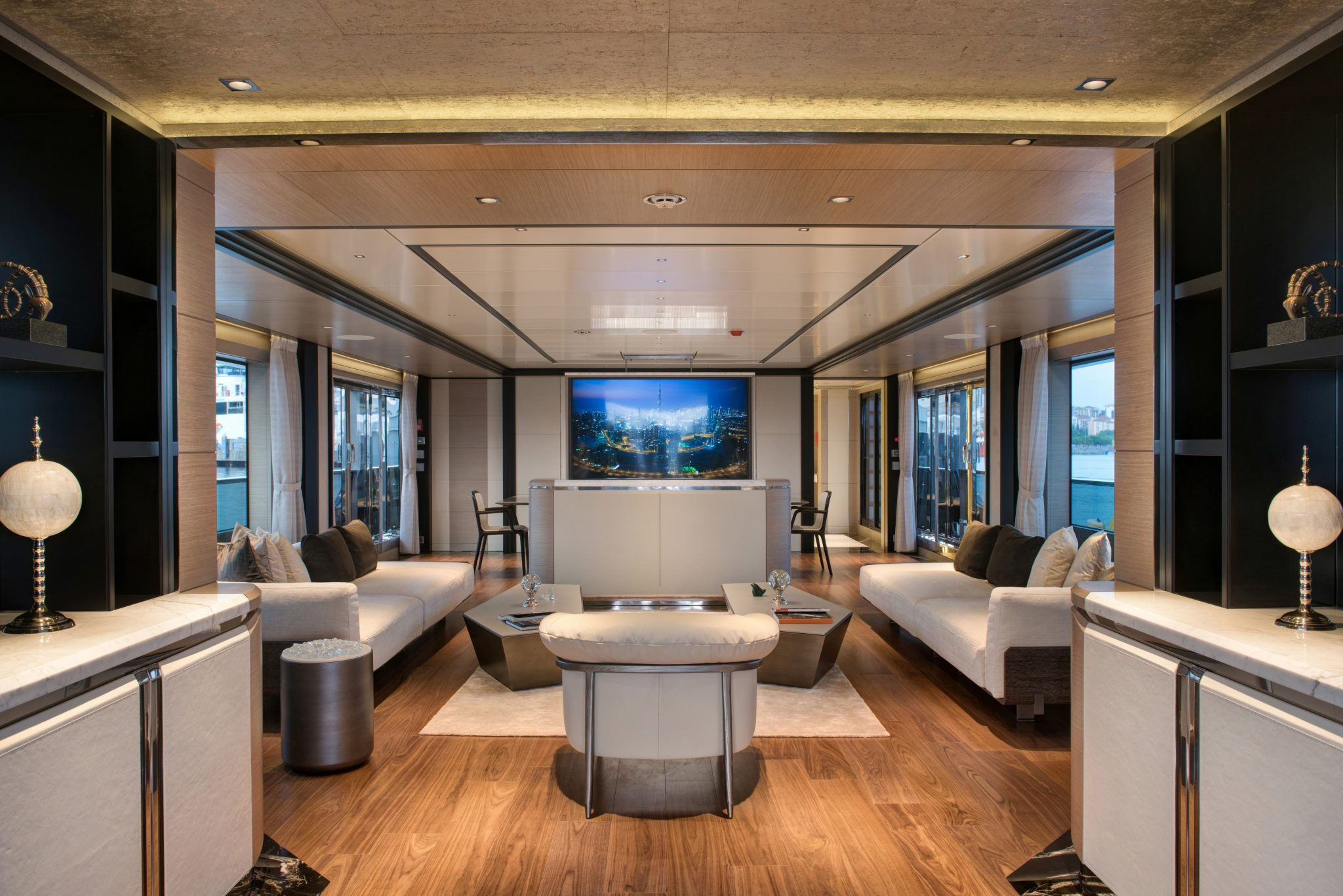 44m Virtus Yacht features a luxury and charming saloon
