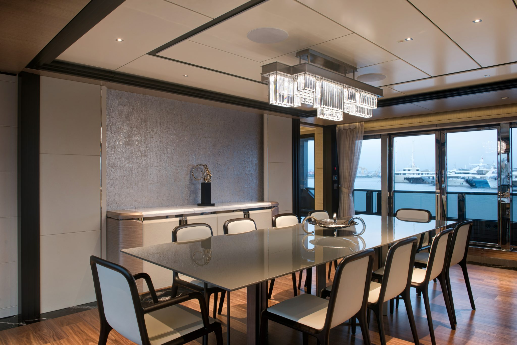 44m Virtus Yacht Saloon with dining area