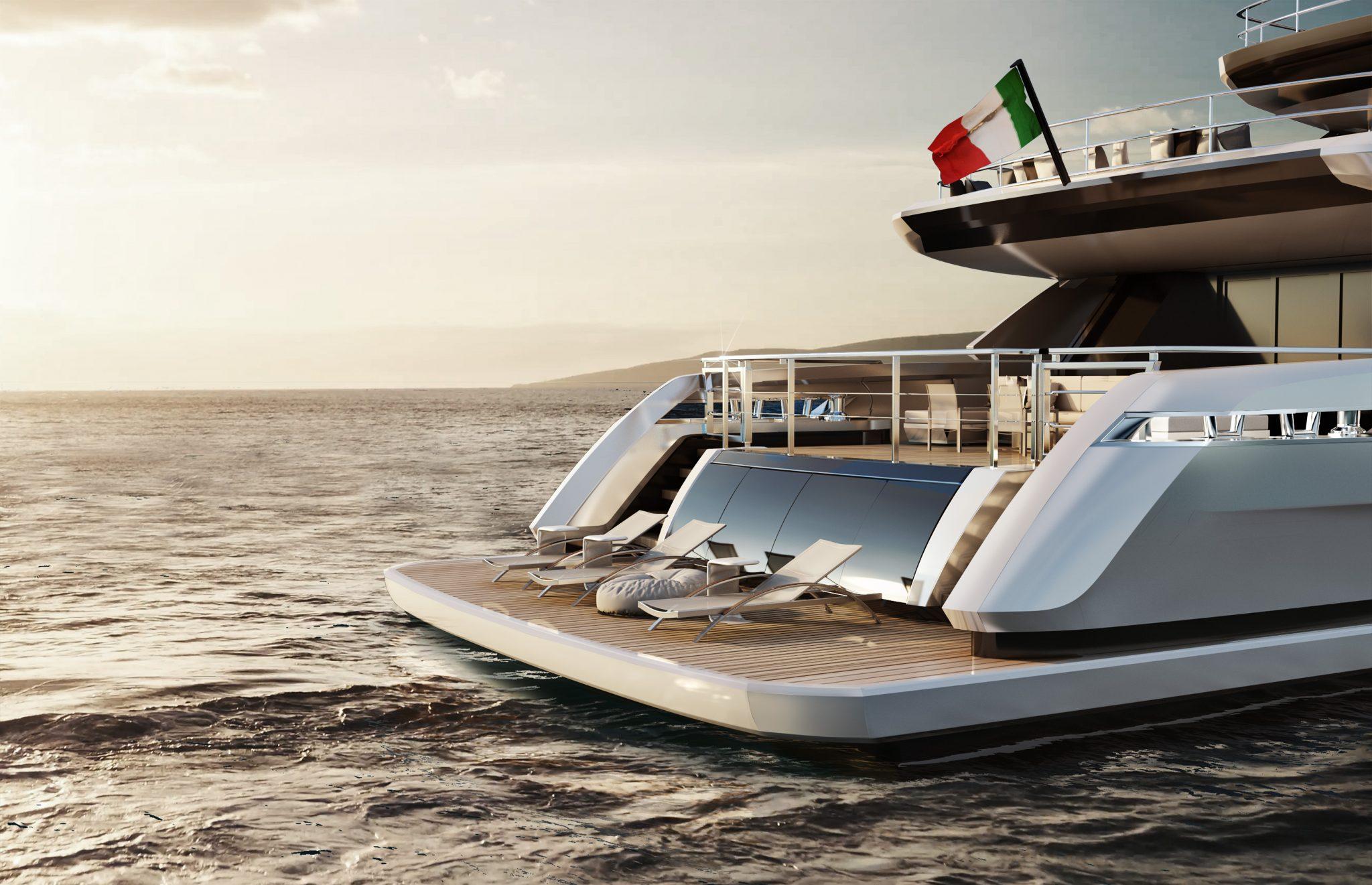 Ducale 118 Navetta Style Explorer Yacht Beach Club Render