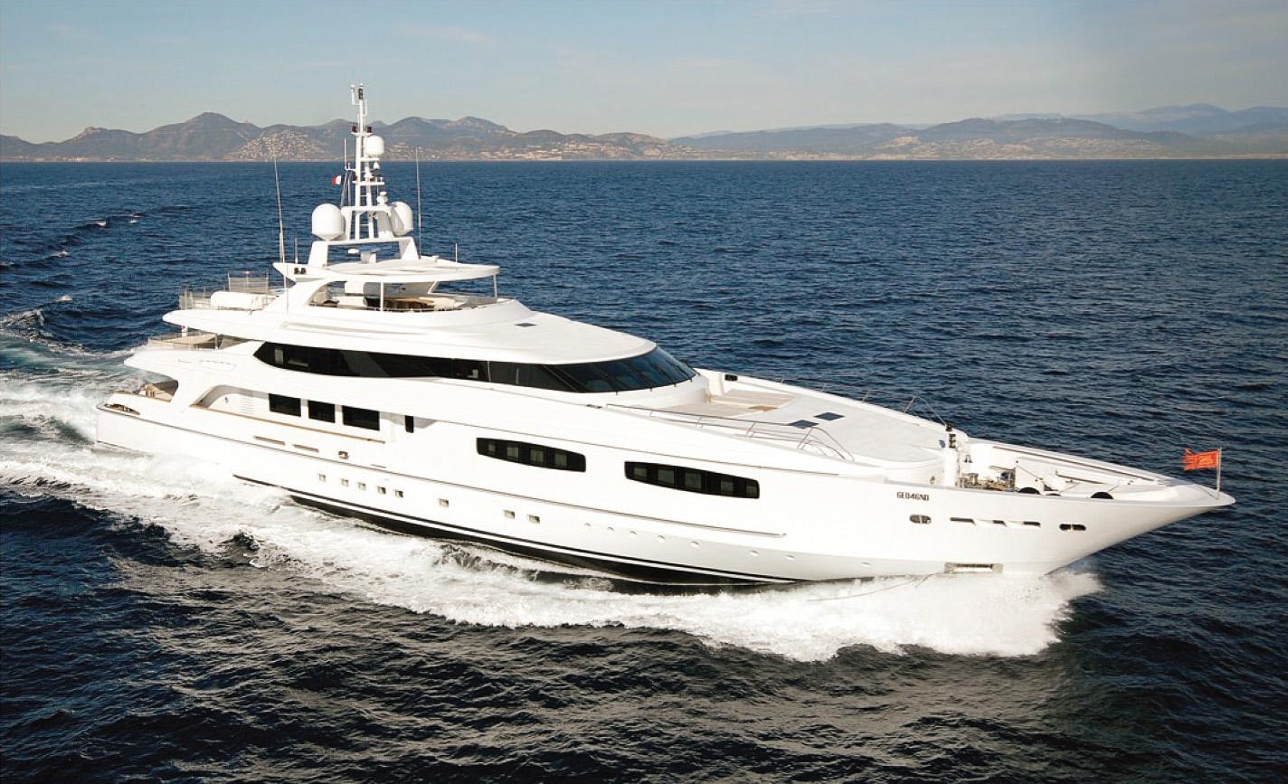 gitana 54 superyacht interior and exterior design photo shoot by a drone