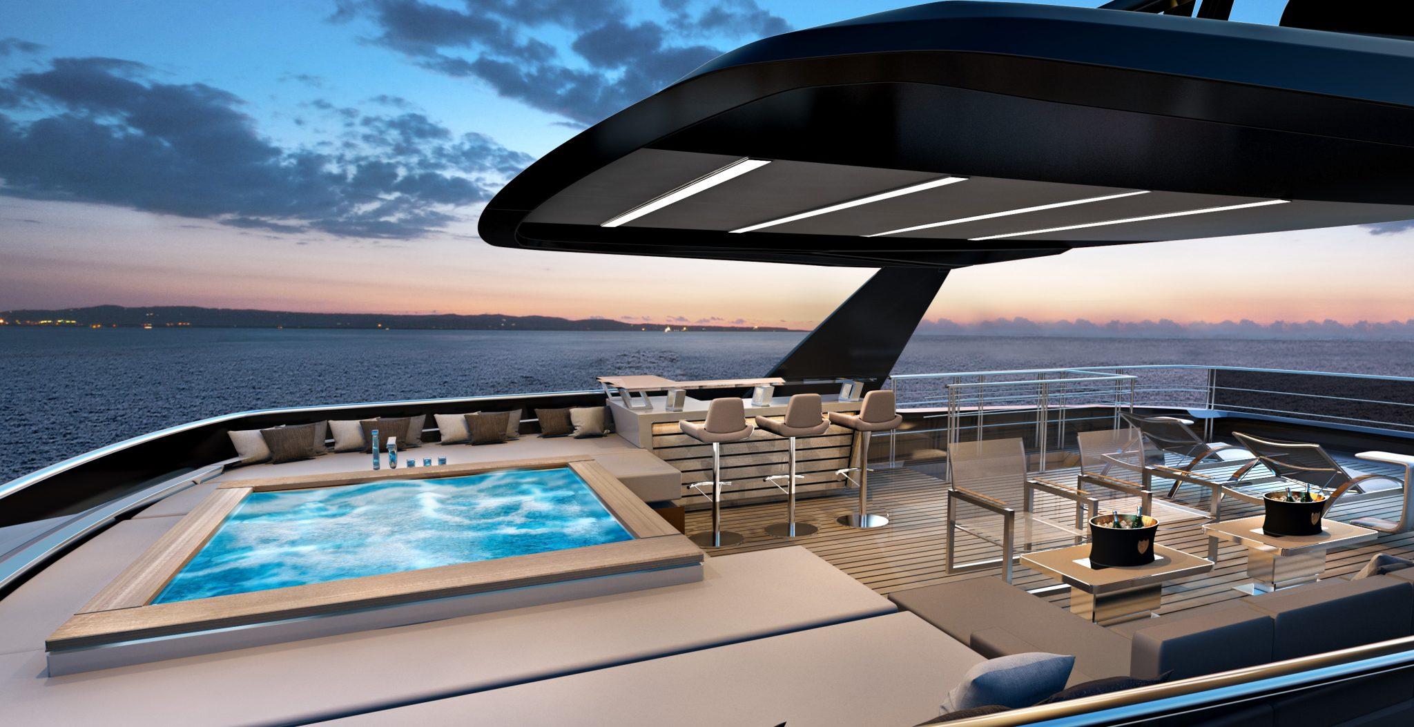 Ducale 118 Navetta Style Explorer Yacht Sundeck Render